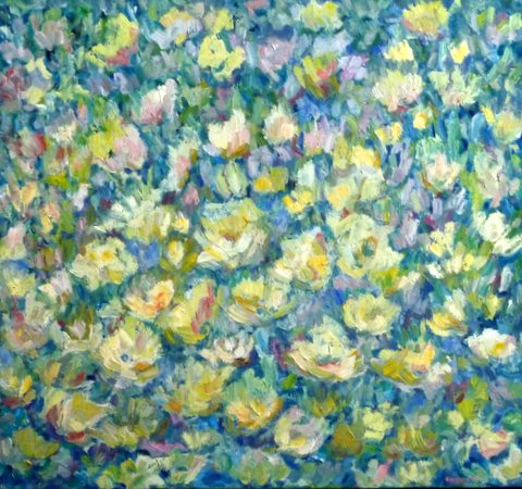 Bloemenweide.  Olieverf Op Doek  70 / 75 Cm. Verkocht