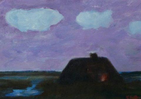 Hut In Polderland. Olieverf 12 / 17 Cm.  € 130.--