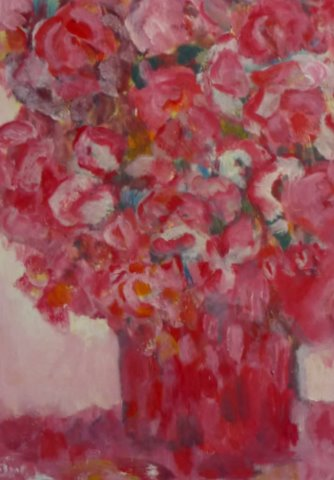 Bloemen In Rode Vaas. Olieverf 20 / 27 Cm.  € 90.--