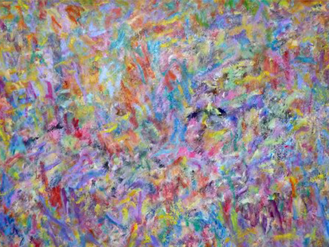 Museaal abstract 160×210 cm, olieverf