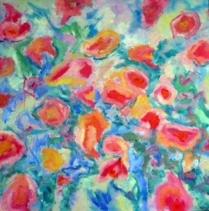 Something like flowers . Olieverf op doek 100 / 100 cm. € 790---