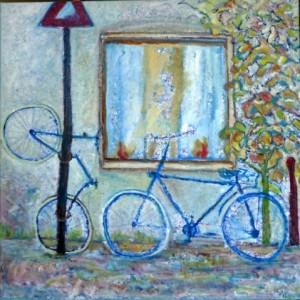Mijn fiets haar fiets. Olieverf op doek 90 / 90 cm. € 675.--