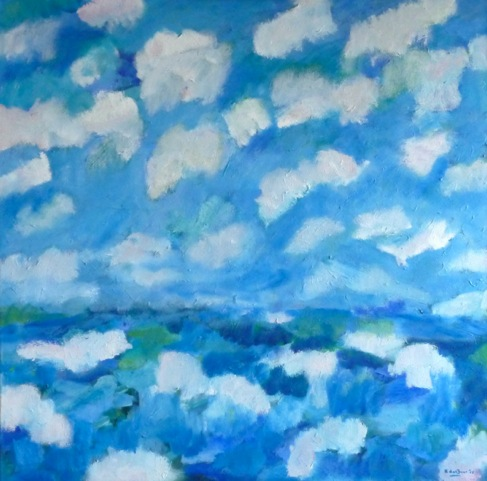 Landschap Met Wolken Olieverf Op Doek 90 × 90 Cm.  € 690.-