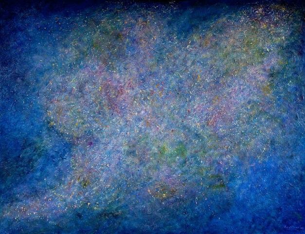 Kosmos Olieverf  Doek Op Paneel. 86 × 112 Cm.  € 890.-
