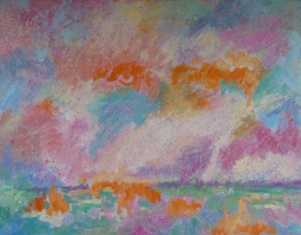 Landschap Met Dalende Wolken. Olieverf Op Doek 115 × 90 Cm. € 890.-